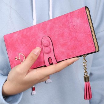 Linemart Women Lady Synthetic Leather Card Holder Long Trifold Wallet Clutch Checkbook Tassel Handbag Purse ( Rose Red ) - intl