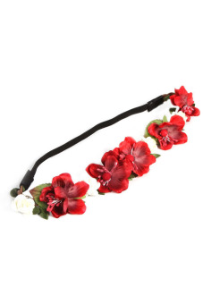 Fancyqube Hot Bohemian Floral Flower Rose Party Wedding Headband Hair Band Red - Intl
