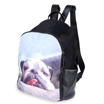 Cartoon Print Bead Rivet Nylon Tote Handbag Backpack(Dog) - intl