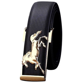 Gold Horse Leisure Leather Strap Business Men's Belt Metal Buckles Belt Black (Intl)