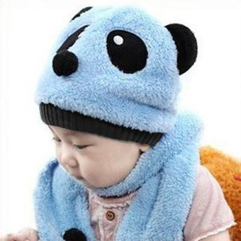 Winter Toddler Girl Boy Cute Panda Hat Scarf Set Fleece Beanie Warm Cap Unisex Two-Piece Set - intl