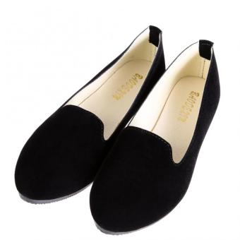 Women Casual Ballet Slip On Flats Single Shoes Black - intl
