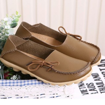 Women Shoes Leather Beanie Flat Shoes Summer Spring Autumn Slip-on Knot Non-slip Woman Ladies Soft Loafers Flats Khaki - intl