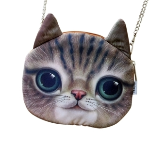 Women Cute Vintage Cat Face Shoulder Messenger Bag Handbag Brown