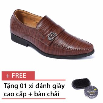 Giày da nam công sở SMARTMEN GL-042 (Nâu) - Tặng kèm 1 bàn chải và 1 hộp xi cao cấp