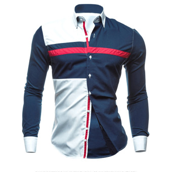New Men Fashion Luxury Casual Slim Fit Shirts Blue - intl