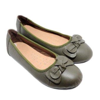 Giày Búp Bê Nữ Da Bò Minh Tâm MT736GN (Xanh rêu)