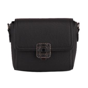 Women Candy Color Rivet Leather Crossbody Bag(Black) - intl