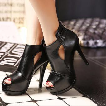 Giày boot nữ da dang trọng hở mũi màu đen