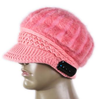Soft Warm Beanie Bluetooth Music Hat Cap for Women Pink (Intl)