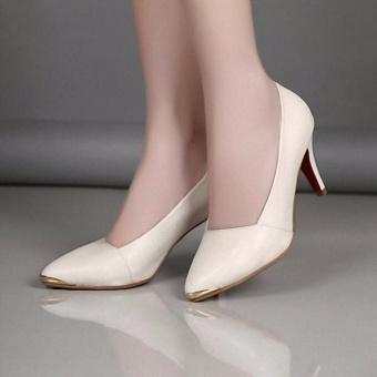 Giày da mũi trang trí kim loại ( trắng )