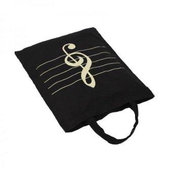BolehDeals Women Girls Casual Cotton Music Notes Tote Shopper Bag Shoulder Handbag 1 - intl