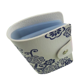 Moonar PU 10 Layers Buckle Type Blue And White Porcelain Chinese Style Pattern Card Holder Bag for Women - intl