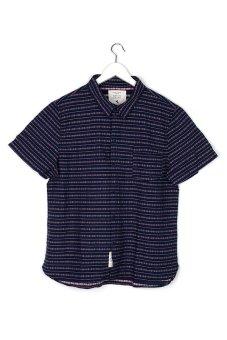 Native Youth Jacquard Floral Stripe Shirt (Navy)
