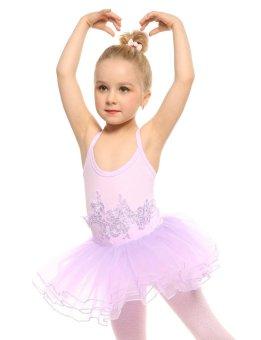 Cyber New Kids Girl Spaghetti Strap Floral Appliques Multi Layer Ruffle Ball Gown Dress ( Purple ) - intl