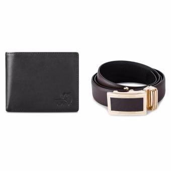 Bộ ví và thắt lưng nam da bò thật LAKA (Đen trơn, Nâu trơn) V01TL02