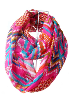 Women Ladies Girls Chiffon Waves Geometric Pattern Printing Scarf Multicolor Infinity Loop Circle Scarf (Rosy)