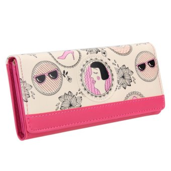 Women Creative PU Leather Long Section Wallet Floral Printed Purse (Rose Red) - intl