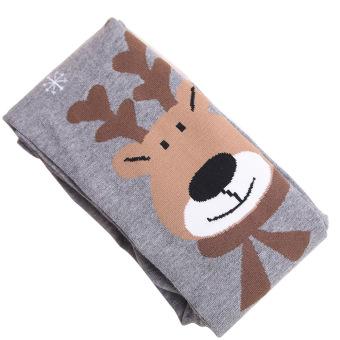Kids Girls Cotton Christmas Elk Leg Warmers Tights Socks Stockings Pants Pantyhose Leggings Grey L for 120-140cm Height Girls - intl