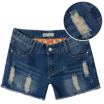Quần short jean nữ wash rách 125