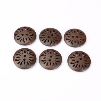 Fashion 100PCS Wood Wooden Sewing Carved Flower Button Craft Scrapbooking - intl