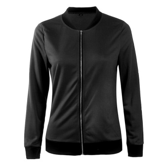 Fashion Women Casual Long Sleeve Bomber Jacket (Black) - intl