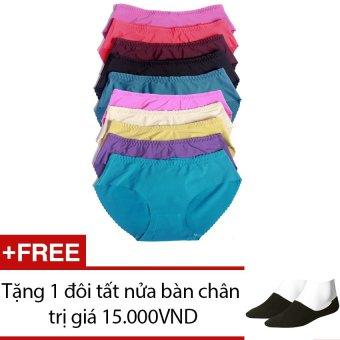 Bộ 10 quần lót nữ từ 52kg trở xuống SoYoung 10DL NU 004+ Tặng 1 đôi_x000D_ tất nửa bàn chân