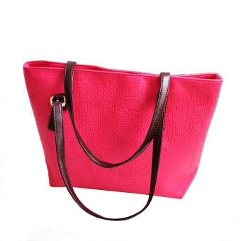 Simple Winter Larger Capacity Leather Women Bag Shoulder Bag Hot Pink