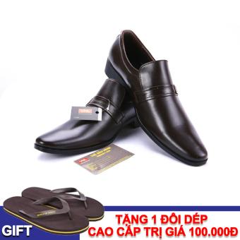Giày tây nam công sở da thật Da Giày Việt Nam VNL4A43N-1 + Tặng 1 đôi dép
