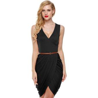 Cyber Meaneor Women Sleeveless Deep Wrap Slim Pencil Dress with Belt (Black) - Intl