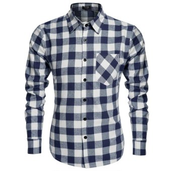 Cyber Coofandy Men's Casual Plaid Long Sleeve Turndown Neck Shirt (Blue and White) - Intl