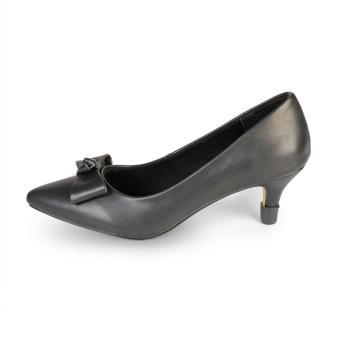 Giày Nữ Gót Nhọn 5cm Mũi Nhọn Đính Nơ HC1320 (Đen)
