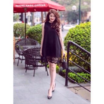 Đầm suông phối ren dịu dàng ( đen)