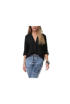 Women's Sexy Chiffon Vneck Long Sleeve T Blouse Black - Intl