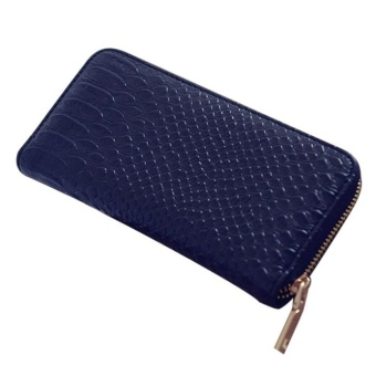 Women Crocodile PU Leather Clutch Zipper Handbag Black - intl