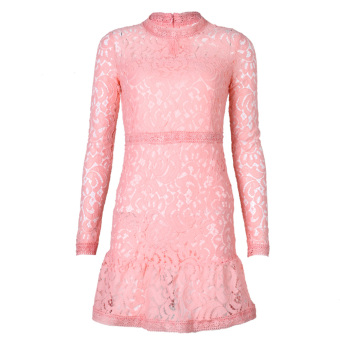 Women Bodycon Long Sleeve Mini Dress Pink - intl