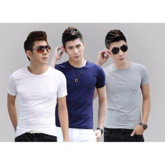 Bộ 3 áo thun nam body cổ tròn ( xanh đen, xám, trắng )