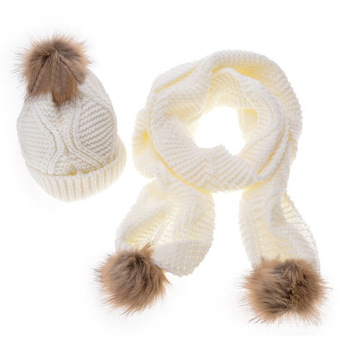 2 PCS Women Woolen Yarn Knit Cuffed Ski Winter Warm Fur Ball Design Hat Scarf Kit White - intl