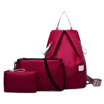 3 PCS/Set Waterproof Nylon Oxford Women Backpack Clutch Crossbody Bags Wine Red - intl