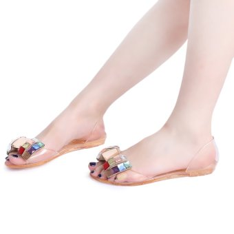 Open Toe Rhinestone Bowknot Design Jelly Flat Shoes(Champagne) - intl