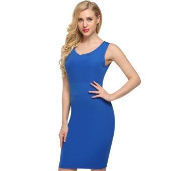 Cyber ACEVOG Elegant Women O-Neck Sleeveless Floral/Solid Tank Dress Silm Package Hip Dress - Intl