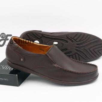 Giày Mọi Nam Đơn Giản Da Thật Đế Nâu GM270 (Nâu đậm)
