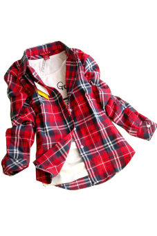 Flannel Loose Shirt (Red) - Intl