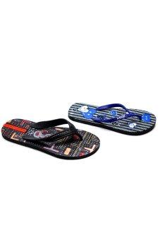 Bộ 2 đôi dép kẹp nam nữ HUỲNH TIÊN HTDNN-015 (Đen và xanh)