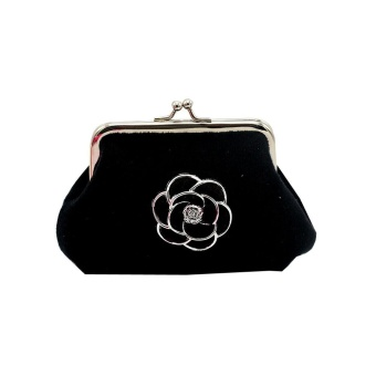Women Lady Flannel Retro Vintage Flower Small Wallet Hasp Purse Clutch Bag BK - intl