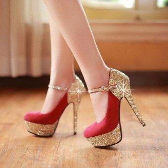 Giày cao gót bít mũi kim tuyến Cao Cấp-Red