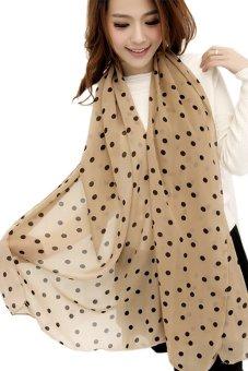 Women Lady Dots Spot Chiffon Soft Shawl Scarf Neck Wrap Headscarf (Khaki) - Intl