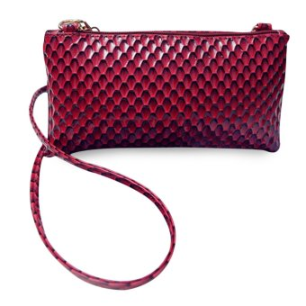 Women PU Plaid Zipper Handbag Shoulder Bag (Wine Red) - intl