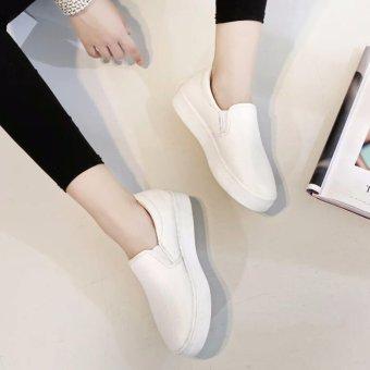 Giày lười nữ da đẹp (trắng)