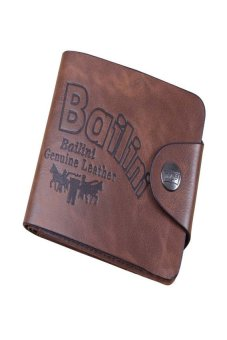 HKS Mens Genuine Leather Bifold Wallet Brown - intl